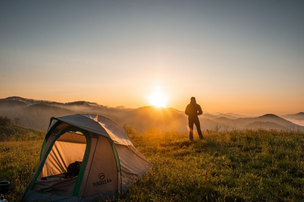 sunset and tent